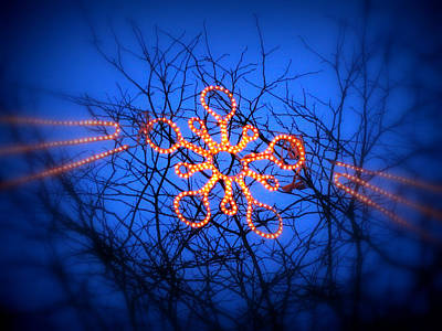 Art Print featuring the photograph Snowflake Christmas Lights by Aurelio Zucco