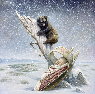 Bear Cub Painting - Snowflake by Gregory Perillo
