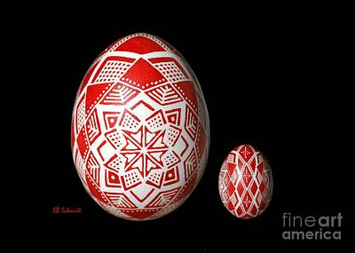 Drawing - Snowflake Lace 1 - Red And White by E B Schmidt