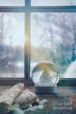 Photograph - Snowglobe And Mittens In Front Of A Window by Sandra Cunningham