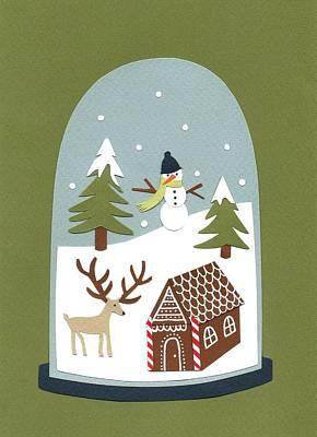 Moose Antler Painting - Snowglobe by Isobel Barber