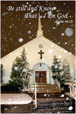 Snowing At The Chapel Art Print by Kathy  White