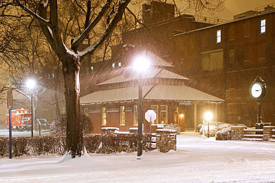 Snowing At The Old Railroad Station Art Print