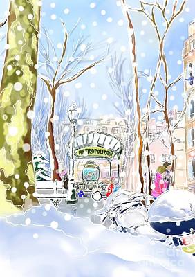 Digital Art - Snowing In Montmartre by Hisayo Ohta