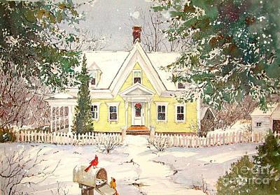 Snowing In Woodstock Art Print by Sherri Crabtree