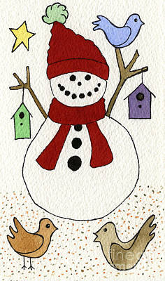 Snowman And Birds Original by Norma Appleton