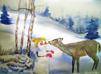 Snowscape Painting - Snowman And Deer by Laura Rispoli
