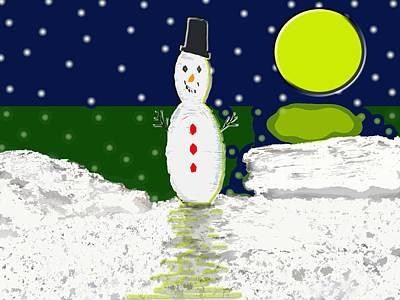 Snowman At The Beach Art Print
