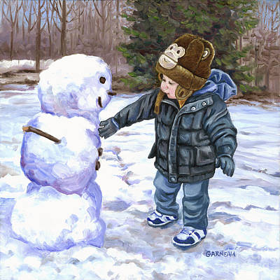 Snowy Day Painting - Snowman by Catherine Garneau