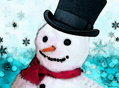 Snowman Christmas Art - Frosty Art Print by Sharon Cummings