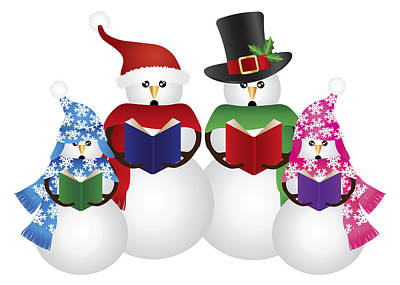 Snowwoman Photograph - Snowman Christmas Carolers Illustration by Jit Lim