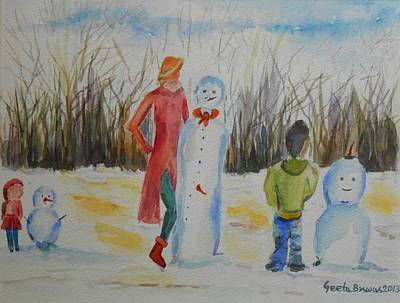 Painting - Snowman Competition by Geeta Biswas