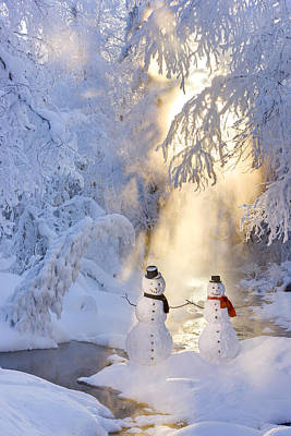 Snowwoman Photograph - Snowman Couple Standing Next by Kevin Smith