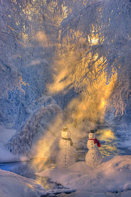 Snowwoman Photograph - Snowman Couple Standing Next To A by Kevin Smith