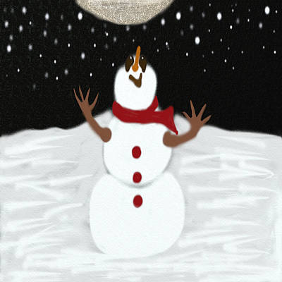 Digital Art - Snowman Enjoying The Moon by Michelle Brenmark