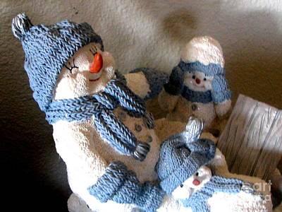 Snowman Family  Trio Art Print