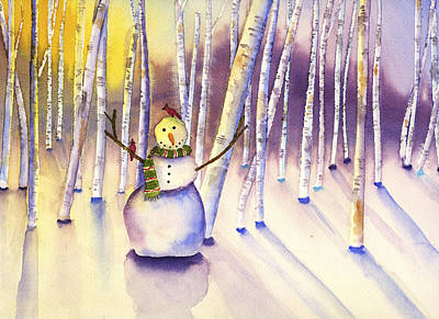 Painting - Snowman Forest by Kerrie  Hubbard