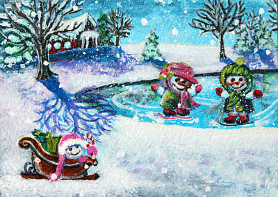 Pond Hockey Painting - Snowman Friends Ice Skating  P1 by Mary Nicholson