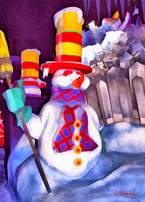 Fauna Painting - Snowman by George Rossidis