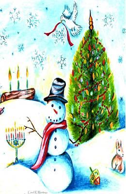Drawing - Snowman Holiday Card by Carol Montoya