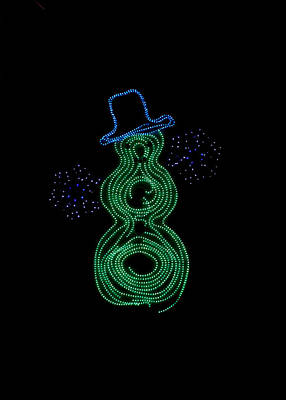 Photograph - Snowman In Lights by Art Block Collections