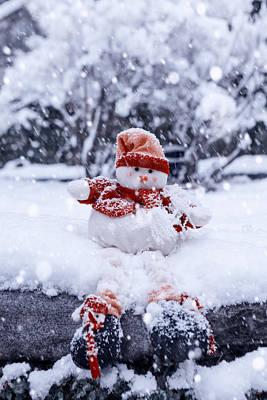 Snowstorm Photograph - Snowman by Joana Kruse
