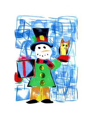 Drawing - Snowman  by Jon Baldwin  Art