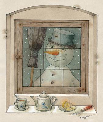 Snowman Art Print by Kestutis Kasparavicius