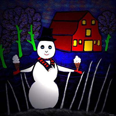 Digital Art - Snowman by Latha Gokuldas Panicker