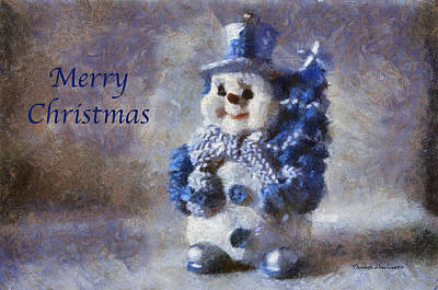 Digital Art - Snowman Merry Christmas Photo Art 02 by Thomas Woolworth