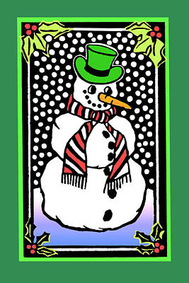 Mixed Media - Snowman by Nancy Griswold