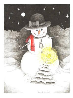 Wall Art - Drawing - Snowman by Paul Shafranski