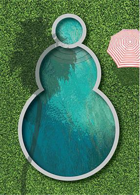 Digital Art - Snowman Pool by Stan  Magnan