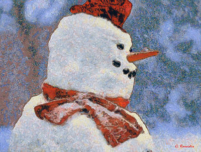 Santa Painting - Snowman Portrait by George Rossidis
