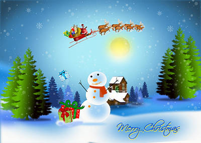 Digital Art - Snowmen Receive Gifts Too  by Spikey Mouse Photography