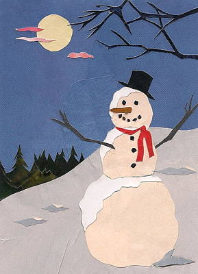 Mixed Media - Snowman by Robin Birrell