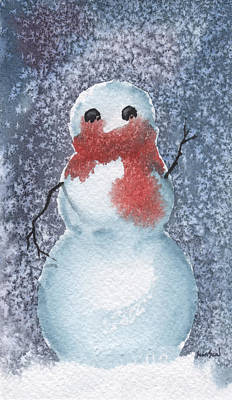 Snowman Art Print by Sean Seal
