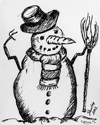 Drawing - Snowman by Shelley Bain