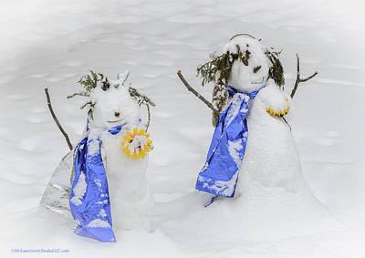 Photograph - Snowman Snowball Fight by LeeAnn McLaneGoetz McLaneGoetzStudioLLCcom