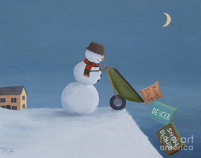Snowman Survival Strategies Art Print
