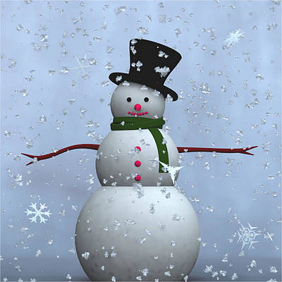 Digital Art - Snowman... by Tim Fillingim