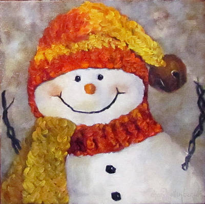 Painting - Snowman V - Christmas Series by Cheri Wollenberg