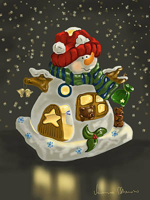 Winter Light Painting - Snowman by Veronica Minozzi