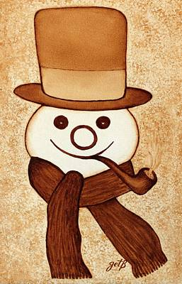 Snowman With Pipe And Topper Original Coffee Painting Art Print by Georgeta  Blanaru