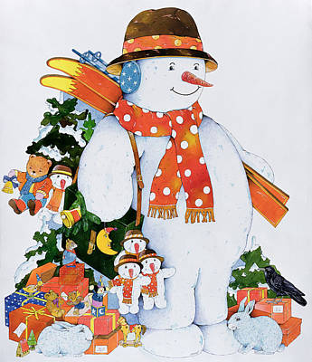 Snowman With Skis Art Print by Christian Kaempf
