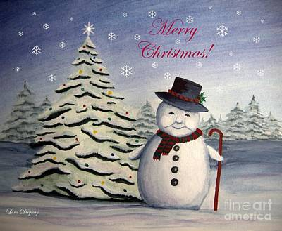Painting - Snowman's Christmas by Lora Duguay
