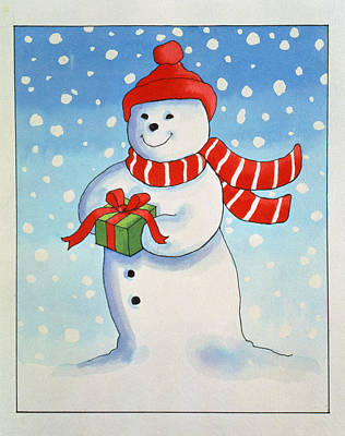 Christmas Card Painting - Snowmans Christmas Present by Lavinia Hamer