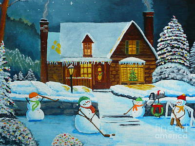 Snowmans Hockey Art Print by Anthony Dunphy