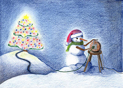 Art Print featuring the drawing Snowman's X'mas by Keiko Katsuta