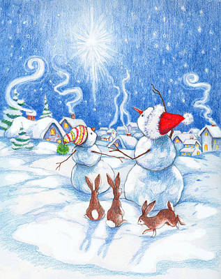 Colored Pencil Painting - Snowmen And Christmas Star by Peggy Wilson